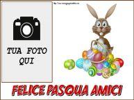 Crea cartoline personalizzate di Pasqua | Felice Pasqua Amici - Cornice foto